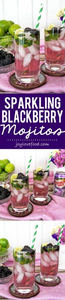 Sparkling Blackberry Mojitos - these pretty, festive and refreshing cocktails are the perfect drink for celebrating spring and warm weather entertaining. #BlackberryAffair #ad