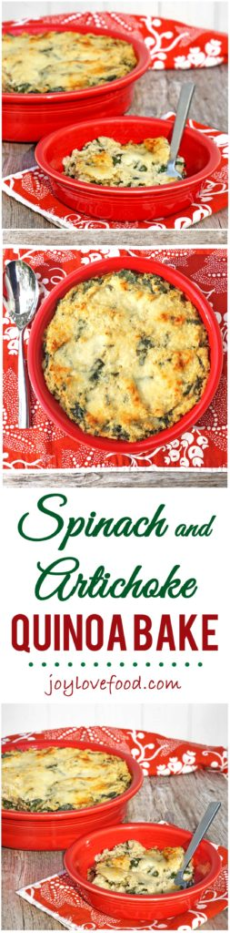 Spinach and Artichoke Quinoa Bake - the creamy, cheesy flavors of spinach and artichoke dip are combined with nutty quinoa in this delicious baked quinoa dish.