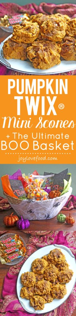 Pumpkin TWIX® Mini Scones - soft, spiced, little pumpkin scones, made with TWIX® candies are the perfect Halloween treat. They are also a great addition to BOO baskets, including my Ultimate BOO Basket. #BOOItForward #ad @Walmart