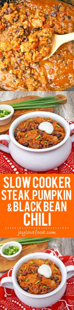 Slow Cooker Steak, Pumpkin and Black Bean Chili - a hearty, satisfying chili, perfect for a cozy fall dinner that the whole family will enjoy. #WasteNoPaste #ad