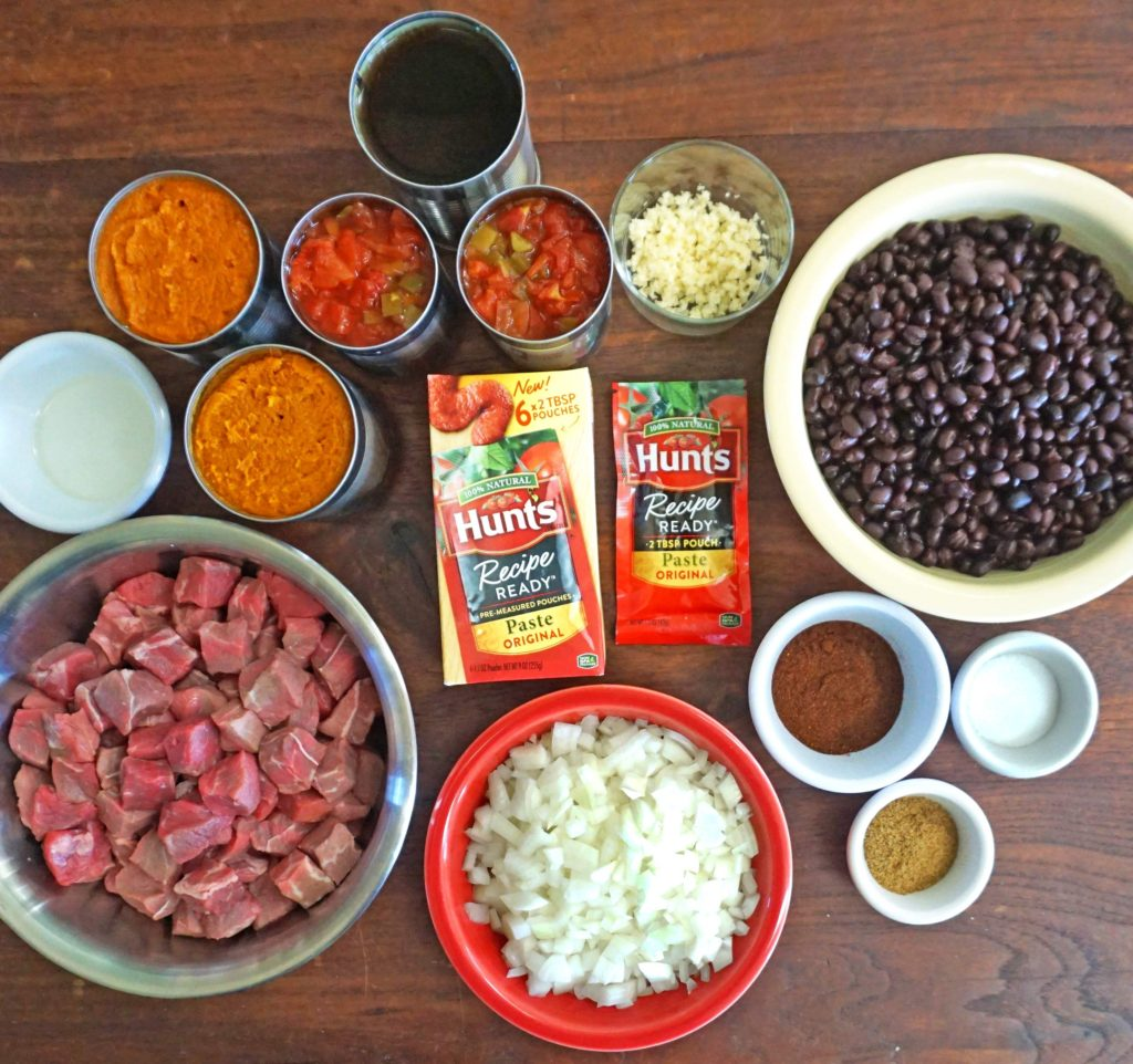 Slow Cooker Steak, Pumpkin and Black Bean Chili - ingredients