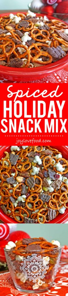 Spiced Holiday Snack Mix - a sweet and salty snack mix, coated in a delicious blend of spices, is so easy to make and perfect for holiday entertaining. #SweetnSaltyHoliday #ad