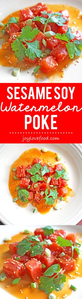 Sesame Soy Watermelon Poke - watermelon is marinated in a soy and sesame sauce in this flavorful, vegetarian version of the traditional Hawaiian dish.