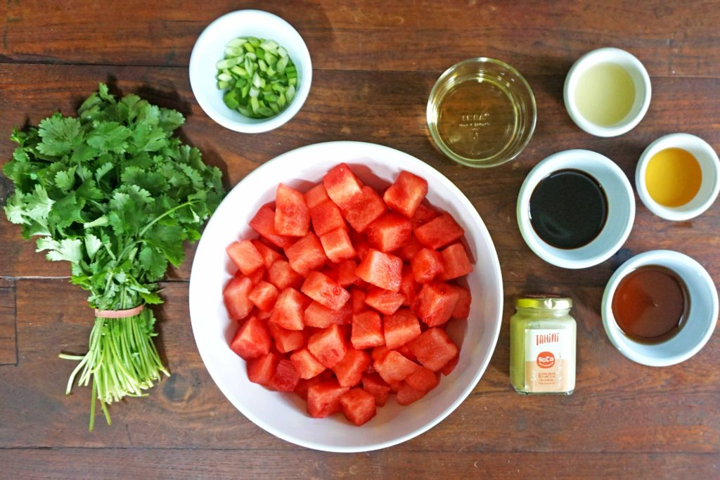 Sesame Soy Watermelon Poke - ingredients